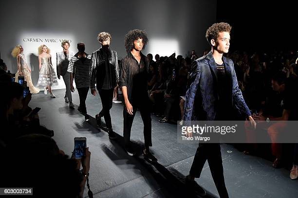 Models walk the runway during the Carmen Marc Valvo Spring/Summer 2017 Fashion Show during New York Fashion Week at Pier 59 Studios on September 11...