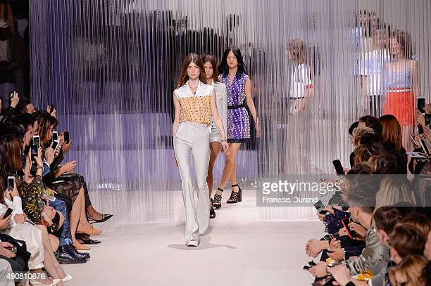 Models walk the runway during the Carven show as part of the Paris Fashion Week Womenswear Spring/Summer 2016 on October 1 2015 in Paris France