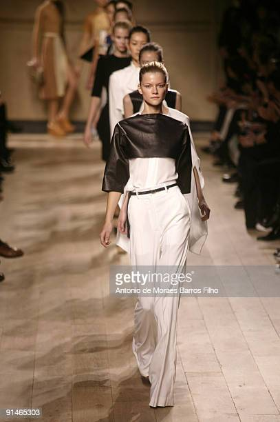Models walk the runway during the Celine Pret a Porter show as part of the Paris Womenswear Fashion Week Spring/Summer 2010 on October 5, 2009 in...