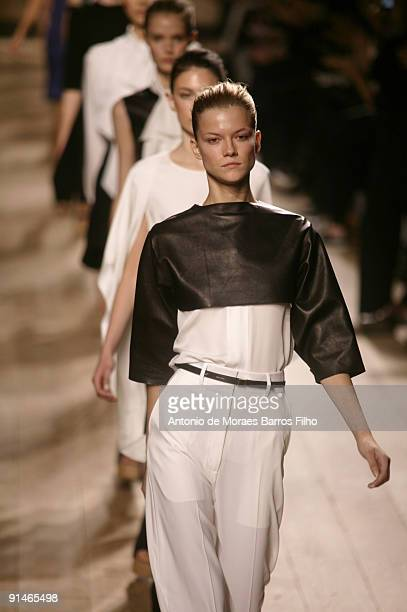 Models walk the runway during the Celine Pret a Porter show as part of the Paris Womenswear Fashion Week Spring/Summer 2010 on October 5 2009 in...