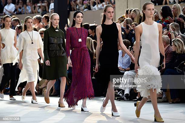Models walk the runway during the Celine show as part of the Paris Fashion Week Womenswear Spring/Summer 2015 on September 28 2014 in Paris France