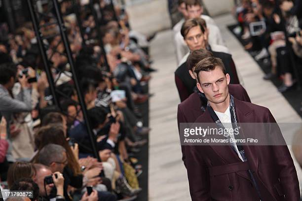 Models walk the runway during the Cerruti Menswear Spring/Summer 2014 Show As Part Of The Paris Fashion Week on June 28 2013 in Paris France