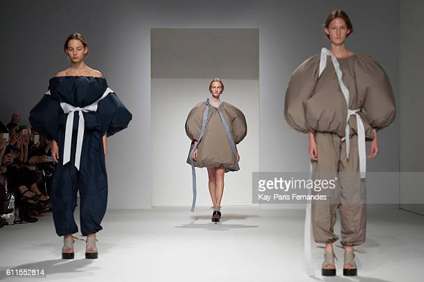Models walk the runway during the Chalayan show as part of the Paris Fashion Week Womenswear Spring/Summer 2017 on September 30 2016 in Paris France