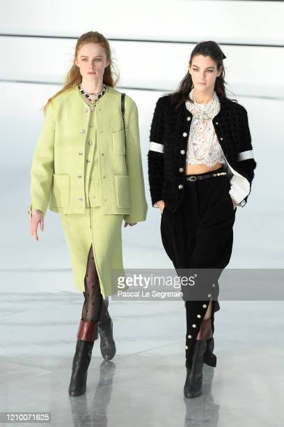 Models walk the runway during the Chanel as part of the Paris Fashion Week Womenswear Fall/Winter 2020/2021 on March 03 2020 in Paris France