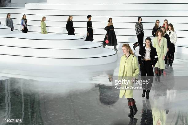 Models walk the runway during the Chanel as part of the Paris Fashion Week Womenswear Fall/Winter 2020/2021 on March 03, 2020 in Paris, France.