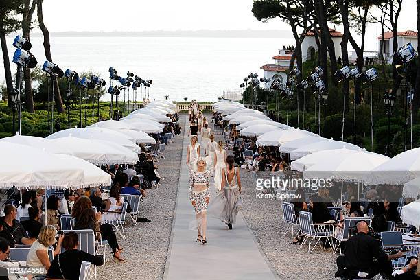 Models walk the runway during the Chanel 'Collection Croisiere 2012' show on May 9, 2011 in Cap d'Antibes, France.