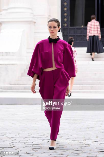 Models walk the runway during the Chanel Couture Haute Couture Fall/Winter 2021/2022 show as part of Paris Fashion Week on July 06, 2021 in Paris,...