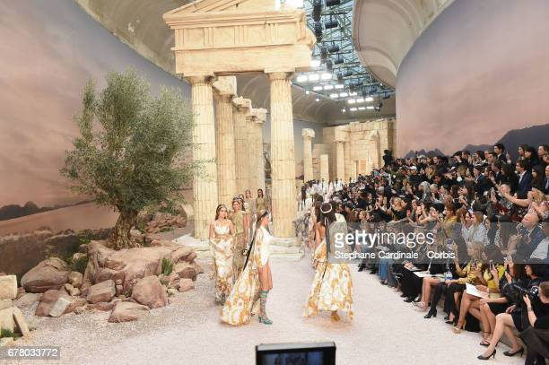 Models walk the runway during the Chanel Cruise 2017/2018 Collection at Grand Palais on May 3, 2017 in Paris, France.