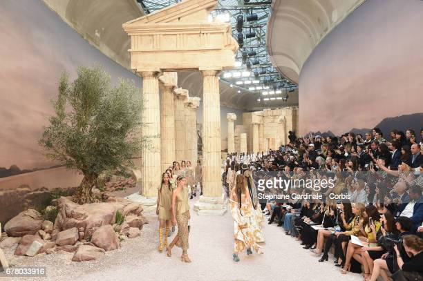 Models walk the runway during the Chanel Cruise 2017/2018 Collection at Grand Palais on May 3 2017 in Paris France