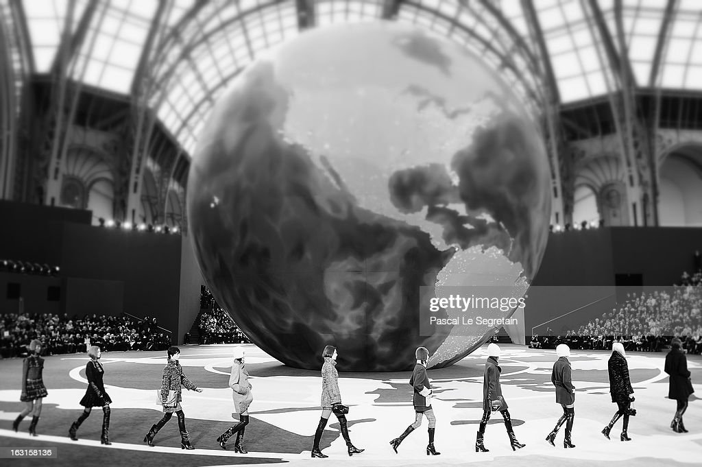 This image was processed using digital filters.) Models walk the runway during the Chanel Fall/Winter 2013 Ready-to-Wear show as part of Paris Fashion Week at Grand Palais on March 5, 2013 in Paris, France.