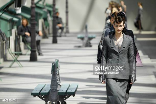 Models walk the runway during the Chanel Haute Couture Fall Winter 2018/2019 show as part of Paris Fashion Week on July 3 2018 in Paris France