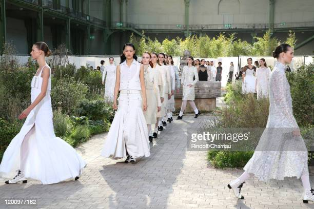 Models walk the runway during the Chanel Haute Couture Spring/Summer 2020 show as part of Paris Fashion Week on January 21, 2020 in Paris, France.