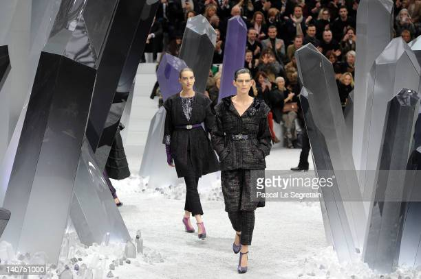 Models walk the runway during the Chanel ReadyToWear Fall/Winter 2012 show as part of Paris Fashion Week at Grand Palais on March 6 2012 in Paris...