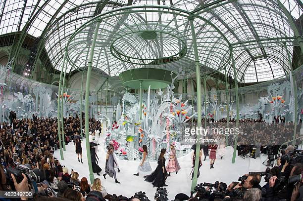 Models walk the runway during the Chanel show as part of Paris Fashion Week Haute Couture Spring/Summer 2015 at the Grand Palais on January 27, 2015...