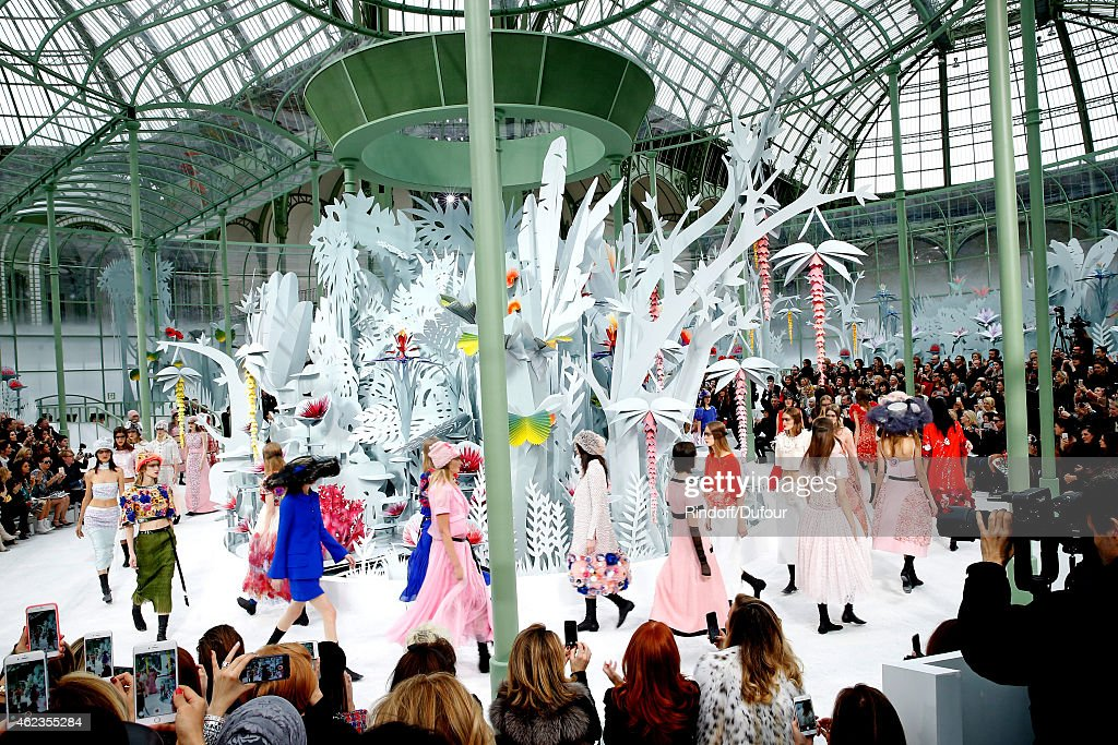 Models walk the runway during the Chanel show as part of Paris Fashion Week Haute Couture Spring/Summer 2015 on January 27, 2015 in Paris, France.