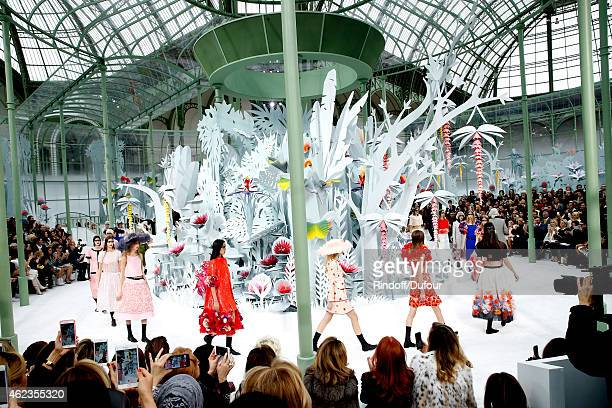 Models walk the runway during the Chanel show as part of Paris Fashion Week Haute Couture Spring/Summer 2015 on January 27 2015 in Paris France