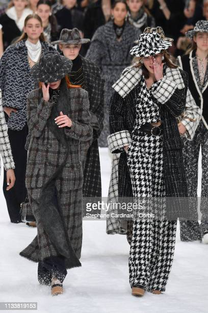 Models walk the runway during the Chanel show as part of the Paris Fashion Week Womenswear Fall/Winter 2019/2020 on March 05 2019 in Paris France