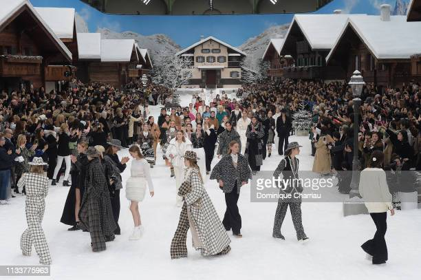 Models walk the runway during the Chanel show finale as part of the Paris Fashion Week Womenswear Fall/Winter 2019/2020 on March 05 2019 in Paris...