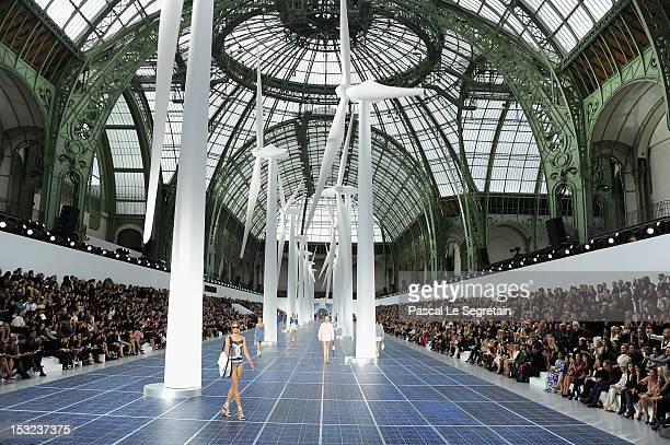 Models walk the runway during the Chanel Spring / Summer 2013 show as part of Paris Fashion Week at Grand Palais on October 2, 2012 in Paris, France.