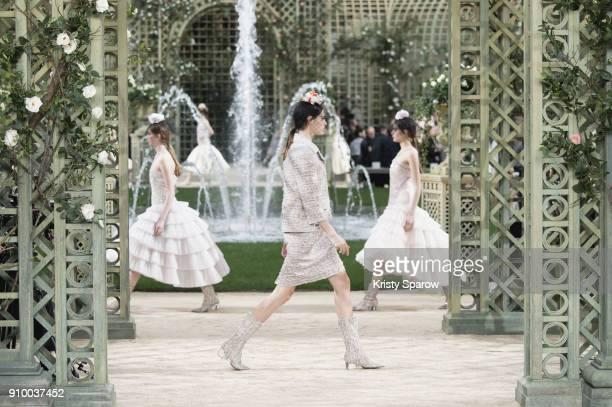 Models walk the runway during the Chanel Spring Summer 2018 show as part of Paris Fashion Week on January 23, 2018 in Paris, France.