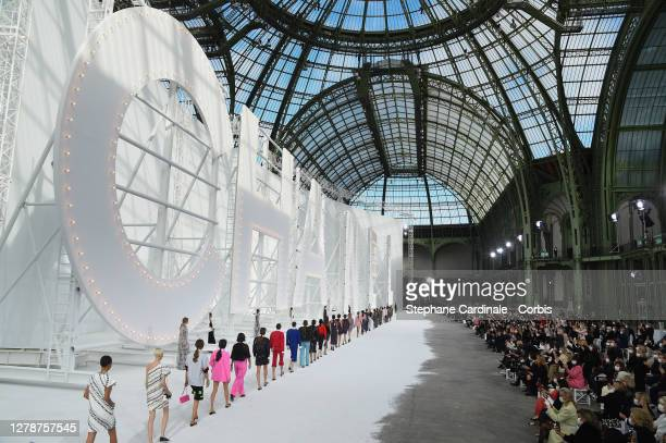 Models walk the runway during the Chanel Womenswear Spring/Summer 2021 show as part of Paris Fashion Week on October 06, 2020 in Paris, France.