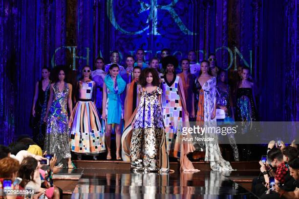 Models walk the runway during the CHARLES AND RON show at New York Fashion Week Powered By Art Hearts Fashion at The Angel Orensanz Foundation on...