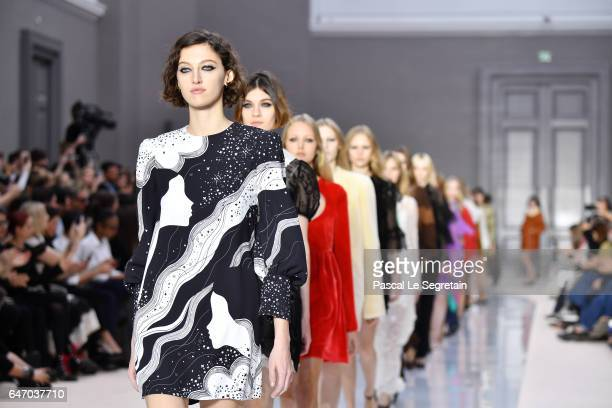 Models walk the runway during the Chloe show as part of the Paris Fashion Week Womenswear Fall/Winter 2017/2018 on March 2, 2017 in Paris, France.