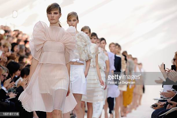 Models walk the runway during the Chloe Spring / Summer 2013 show as part of Paris Fashion Week at Espace Ephemere Tuileries on October 1, 2012 in...