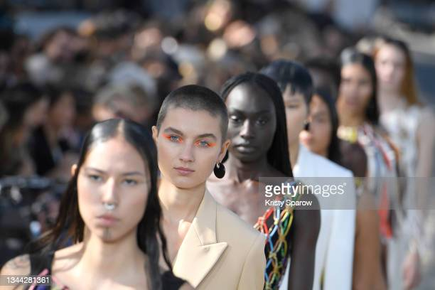Models walk the runway during the Chloe Womenswear Spring/Summer 2022 show as part of Paris Fashion Week on September 30, 2021 in Paris, France.