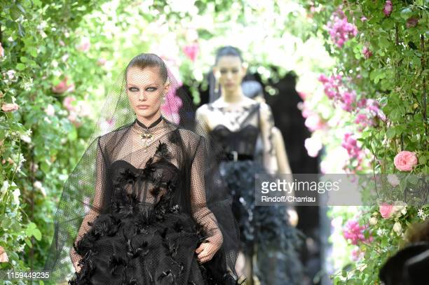Models walk the runway during the Christian Dior Haute Couture Fall/Winter 2019 2020 show as part of Paris Fashion Week on July 01, 2019 in Paris,...