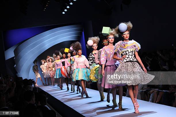 Models walk the runway during the Christian Dior Haute Couture Fall/Winter 2011/2012 show as part of Paris Fashion Week at Musee Rodin on July 4 2011...