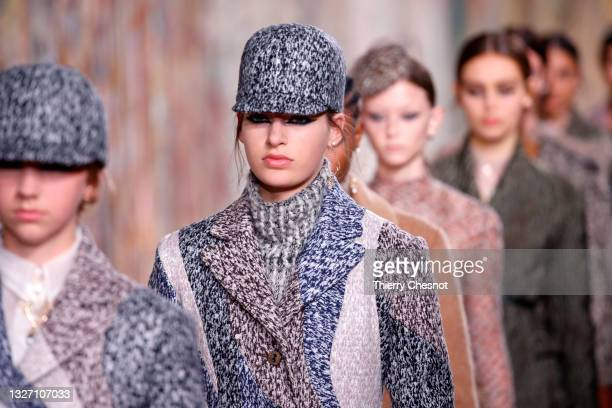 Models walk the runway during the Christian Dior Haute Couture Fall/Winter 2021/2022 show as part of Paris Fashion Week on July 05, 2021 in Paris,...