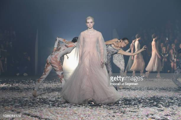 Models walk the runway during the Christian Dior show as part of the Paris Fashion Week Womenswear Spring/Summer 2019 on September 24 2018 in Paris...