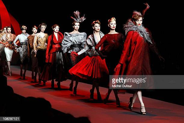Models walk the runway during the Christian Dior show as part of the Paris Haute Couture Fashion Week Spring/Summer 2011 at Musee Rodin on January 24...
