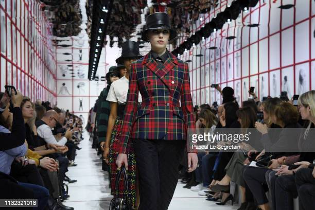 Models walk the runway during the Christian Dior show as part of the Paris Fashion Week Womenswear Fall/Winter 2019/2020 on February 26 2019 in Paris...