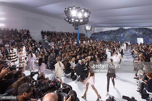Models walk the runway during the Christian Dior show as part of the Paris Fashion Week Womenswear Spring/Summer 2016 on October 2 2015 in Paris...