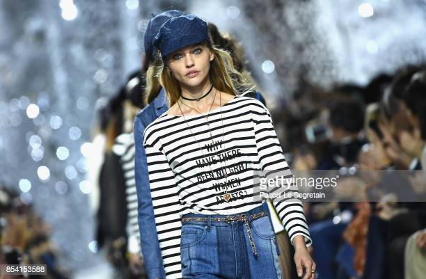 Models walk the runway during the Christian Dior show as part of the Paris Fashion Week Womenswear Spring/Summer 2018 on September 26 2017 in Paris...