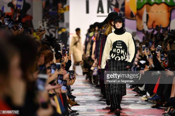 Models walk the runway during the Christian Dior show as part of the Paris Fashion Week Womenswear Fall/Winter 2018/2019 on February 27 2018 in Paris...