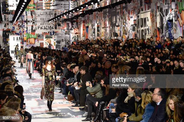 Models walk the runway during the Christian Dior show as part of the Paris Fashion Week Womenswear Fall/Winter 2018/2019 on February 27, 2018 in...
