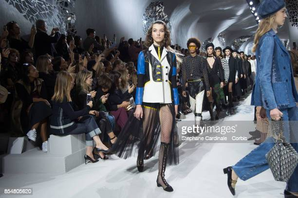 Models walk the runway during the Christian Dior Spring Summer 2018 show as part of Paris Fashion Week at Musee Rodin on September 26 2017 in Paris...