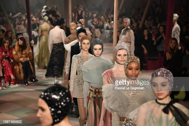 Models walk the runway during the Christian Dior Spring Summer 2019 show as part of Paris Fashion Week on January 21 2019 in Paris France