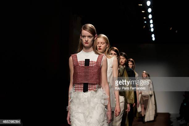 Models walk the runway during the Christian Wijnants show as part of the Paris Fashion Week Womenswear Fall/Winter 2015/2016 on March 5 2015 in Paris...