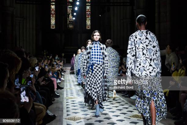 Models walk the runway during the Christian Wijnants show at 'Cathedrale Amerciaine' as part of the Paris Fashion Week Womenswear Fall/Winter...