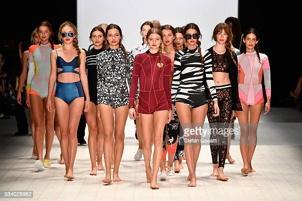 Models walk the runway during the Cynthia Rowley show at MercedesBenz Fashion Week Resort 17 Collections at Carriageworks on May 19 2016 in Sydney...
