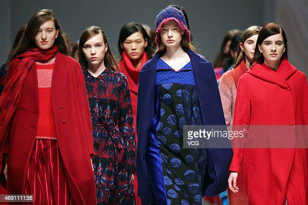 Models walk the runway during the Decoster show as part of Shanghai Fashion Week Autumn/Winter Collection on April 9, 2015 in Shanghai, China.