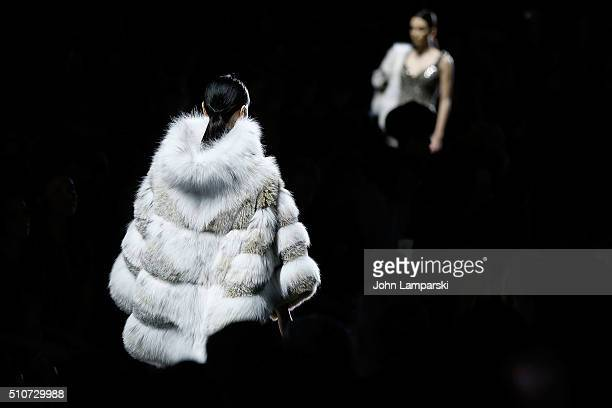 Models walk the runway during the Dennis Basso Fall 2016 show New York Fashion Week: The Shows at The Arc, Skylight at Moynihan Station on February...