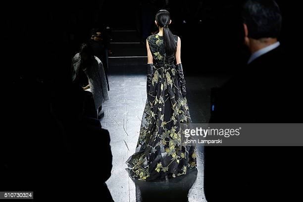 Models walk the runway during the Dennis Basso Fall 2016 show New York Fashion Week The Shows at The Arc Skylight at Moynihan Station on February 16...