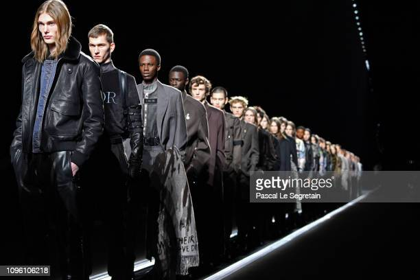 Models walk the runway during the Dior Homme Menswear Fall/Winter 20192020 show as part of Paris Fashion Week on January 18 2019 in Paris France
