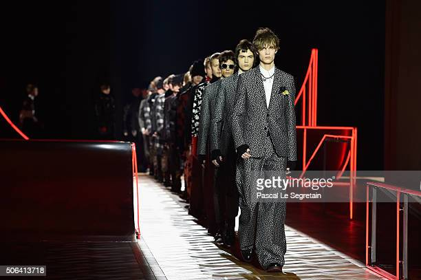 Models walk the runway during the Dior Homme Menswear Fall/Winter 20162017 show as part of Paris Fashion Week on January 23 2016 in Paris France