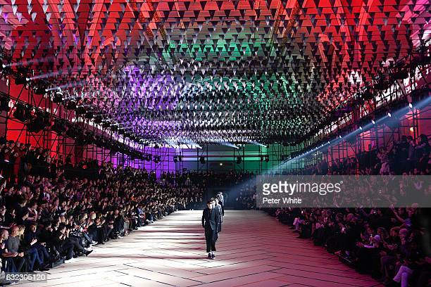 Models walk the runway during the Dior Homme Menswear Fall/Winter 20172018 show as part of Paris Fashion Week on January 21 2017 in Paris France